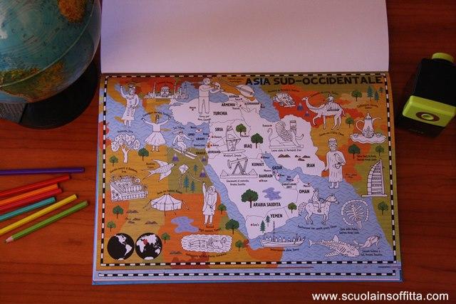 libro da colorare per bambini map colouring book