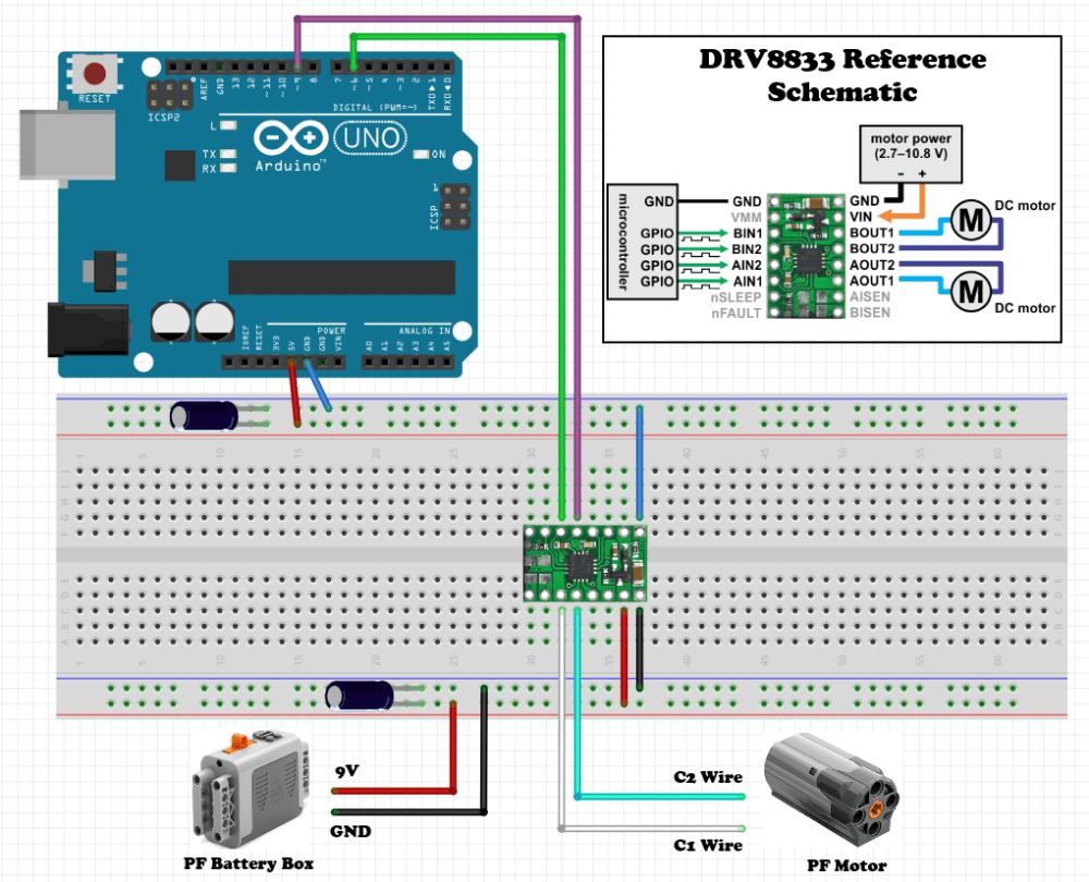 medium resolution of breadboard layout for connecting our lego motor and battery box