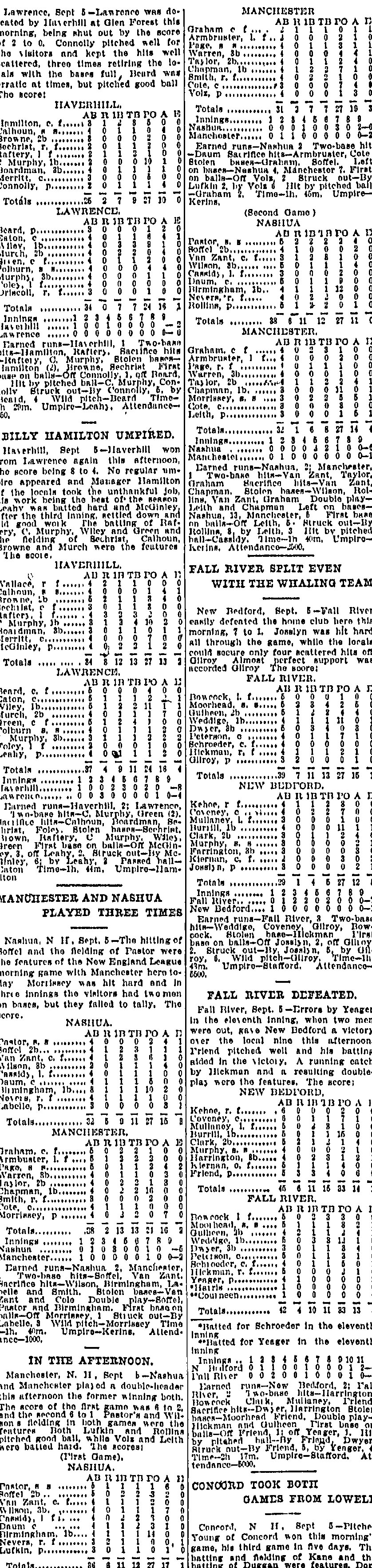 Boston Journal Sept. 6, 1904 New England League