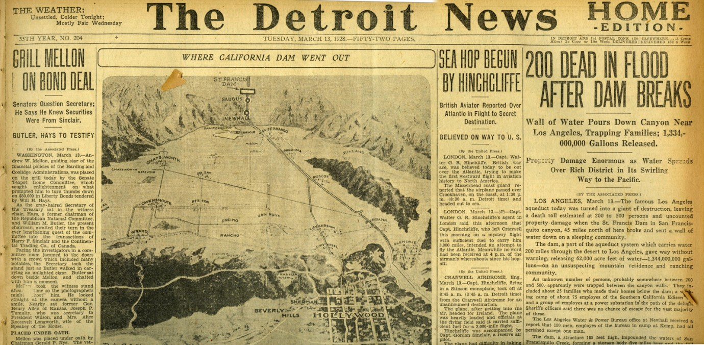 Newspapers of the St. Francis Dam Disaster.  THE DETROIT NEWS (NEWSPAPER),  TUESDAY, MARCH 13, 1928