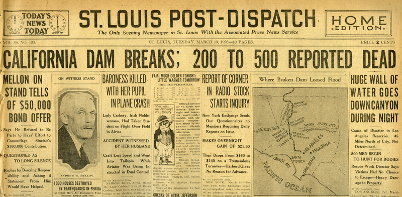 Newspapers of the St. Francis Dam Disaster.  ST. LOUIS POST-DISPATCH (NEWSPAPER),  TUESDAY, MARCH 13, 1928