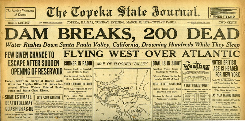 Newspapers of the St. Francis Dam Disaster.  THE TOPEKA STATE JOURNAL(NEWSPAPER),  TUESDAY, MARCH 13, 1928