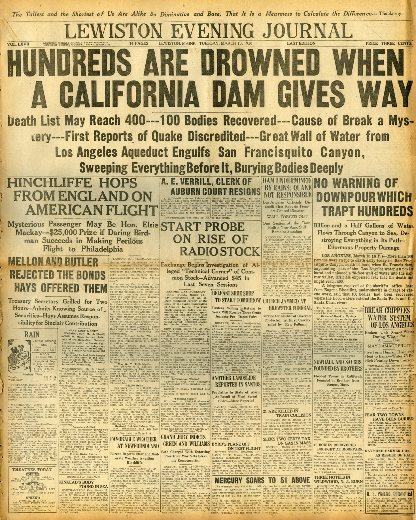 Newspapers of the St. Francis Dam Disaster.  LEWISTON EVENING JOURNAL(NEWSPAPER),  TUESDAY, MARCH 13, 1928