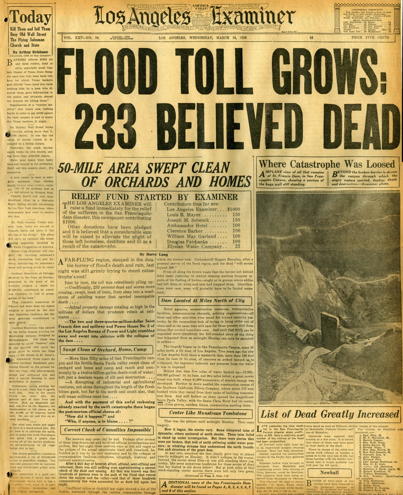 St. Francis Dam Disaster  LOS ANGELES EXAMINER  Los Angeles, California | Wednesday, March 14, 1928