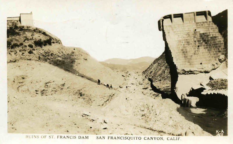 Real photo postcard: Ruins of dam, postmarked April 13, 1928.
