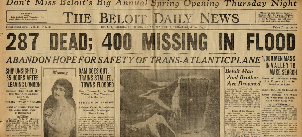 St. Francis Dam Disaster.  The Beloit Daily News (newspaper), Beloit, Wisconsin.  Wednesday, March 14, 1928