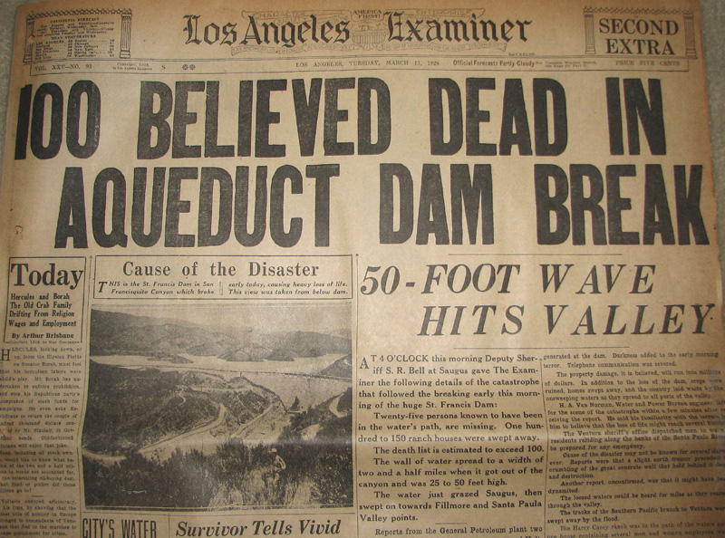 Newspapers of the St. Francis Dam Disaster.  LOS ANGELES EXAMINER (NEWSPAPER), LOS ANGELES, CALIFORNIA.  Tuesday, March 13, 1928