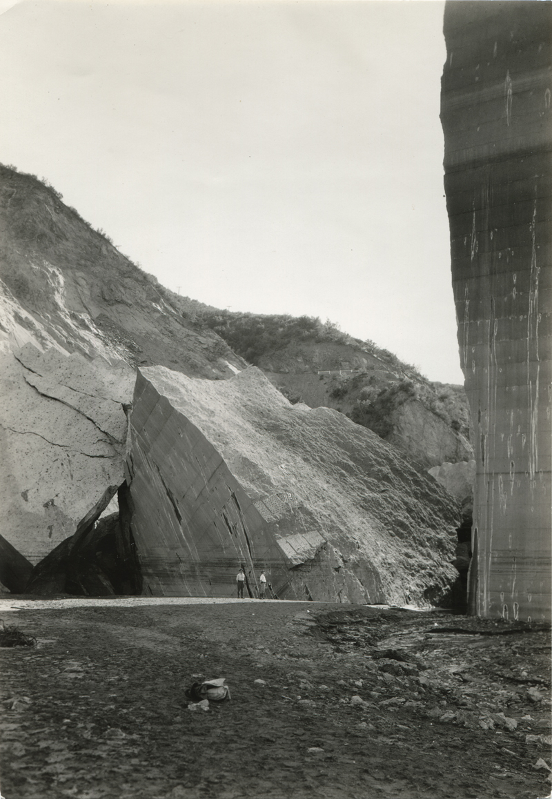 Reservoir Side of Dam After Break. EX-SAN FRANCISCO PUBLIC UTILITIES COMMISSION ARCHIVES. Photos of the St. Francis Dam disaster.