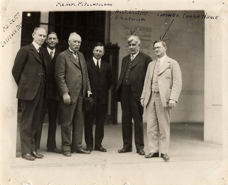 William Mulholland, Coroner Frank Nance, Others. HALL OF JUSTICE, LOS ANGELES. Photos of the St. Francis Dam disaster.