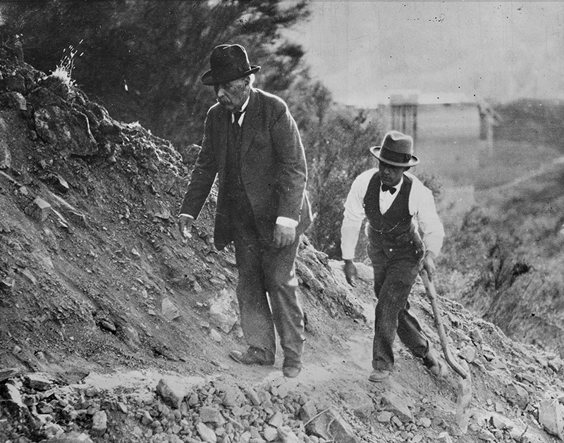 William Mulholland Inspects Disaster Site. SAN FRANCISQUITO CANYON. Photos of the St. Francis Dam disaster.