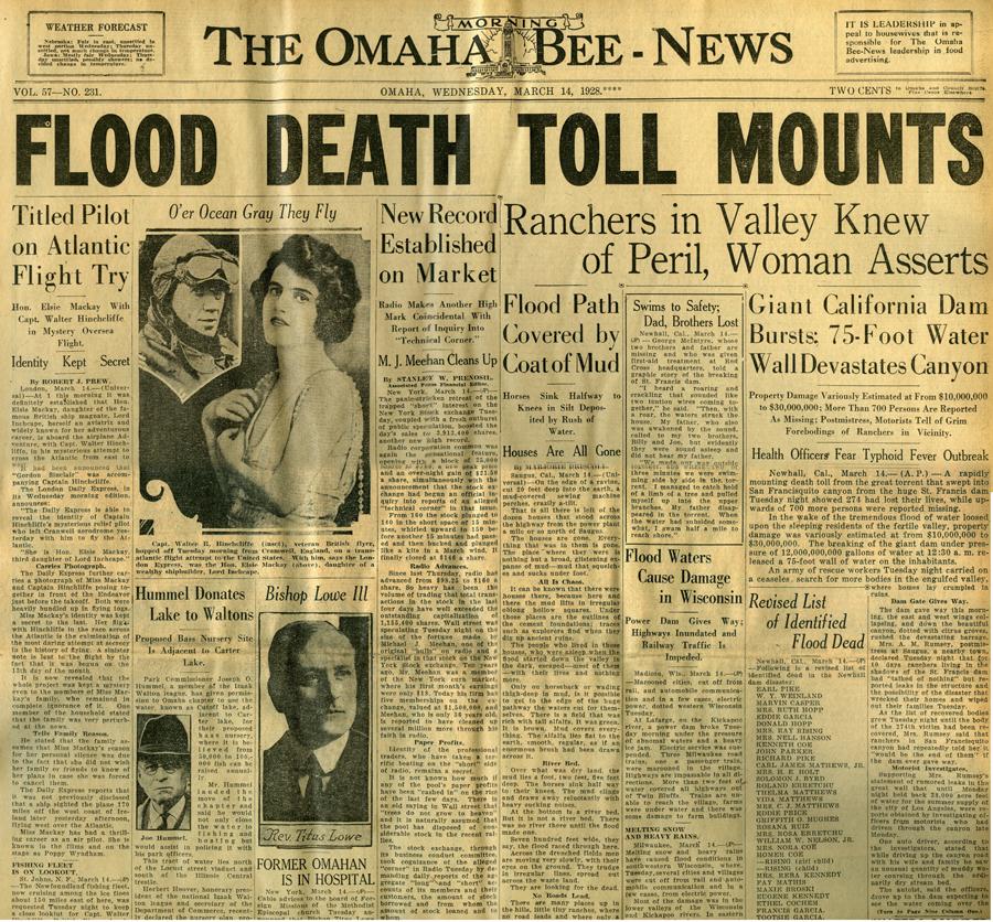 St. Francis Dam Disaster.  Omaha Morning Bee-News (newspaper), Omaha, Nebraska.  Wednesday, March 14, 1928