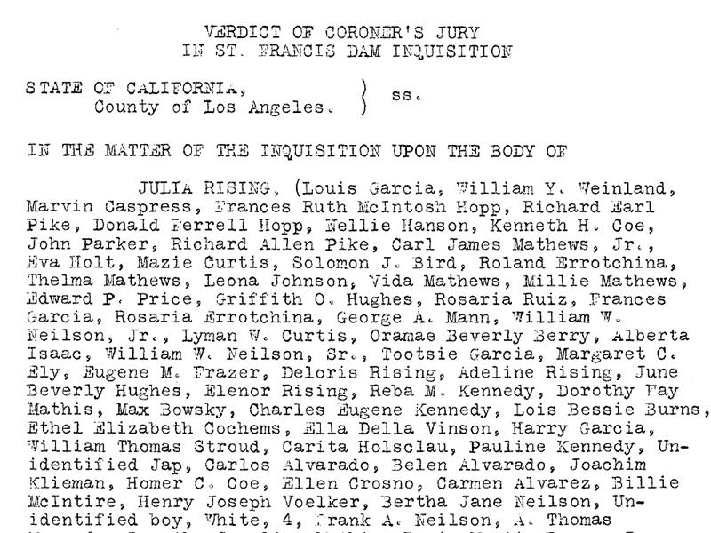 Verdict of Coroner's Jury in St. Francis Dam Inquisition. St. Francis Dam disaster.