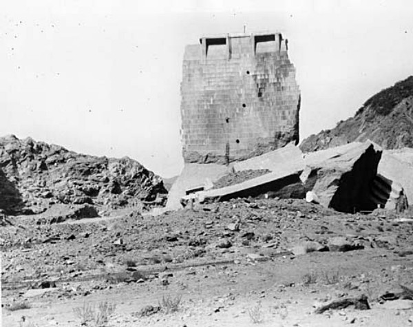 South Face of the Tombstone. Photos of the St. Francis Dam disaster.
