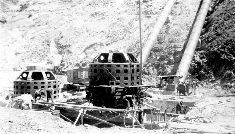 Cleanup at Power House No. 2. Photos of the St. Francis Dam disaster.