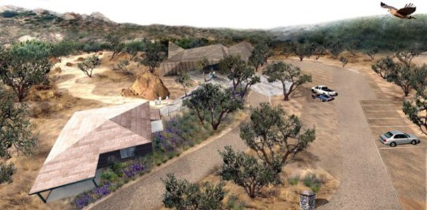 Architect's rendering of the completed Interpretive Center at Vasquez Rocks.