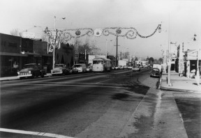 Christmas decorations over San Fernando Road (Main Street) in Old Newhall, early 1960s. Click to enlarge & see more.