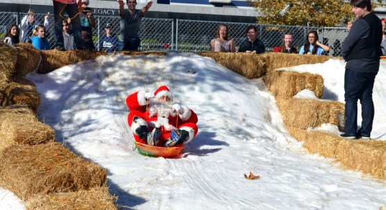 No, kids, that's not Santa Claus. It's an imposter: Saugus Principal Bill Bolde is only dressed up as Santa Claus. He's not the real Santa. .... Or is he?