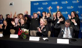 The staff at Children's Hospital Los Angeles celebrates the news of the hospital's Magnet® recognition for nursing excellence. (Seated l-r): Margaux Chan, RN, BSN,CPN, Susan Crandall, RN, BSN,CCRN, Mary Dee Hacker, MBA, RN, NEA-BC, FAAN, Richard Cordova, FACHE, President & CEO.