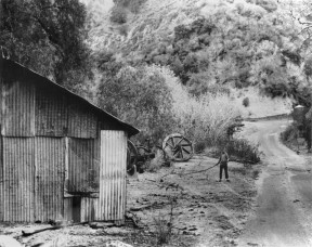 Darryl with a sucker rod at the firehouse in Pico Canyon, 1961-62. Click image to enlarge and see more.