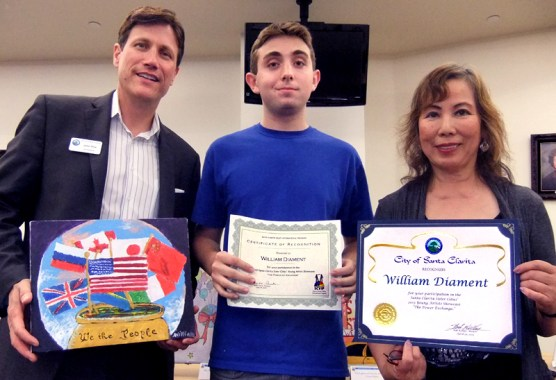 William Diament of SCV Charter, with Arts Commissioner John Dow and contest judge Zony Gordon