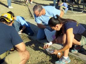 Participants pick up micro-trash.