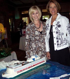 Julie Benson of Princess Cruises and Jill Cox of Jill's Cake Creations. A 7-day Princess cruise will be raffled off.