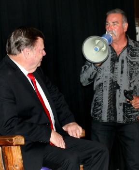 Steve Arklin pokes fun at Kellar's reliance on a hearing aid.
