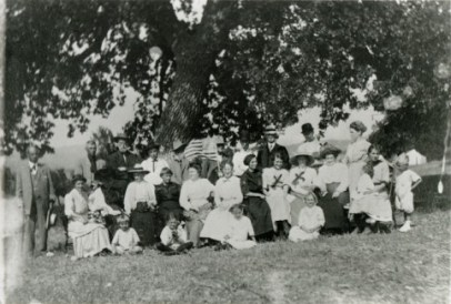 Local denizens celebrate the Fourth of July at Saxonia Park in Quigley Canyon (western Placerita Canyon) sometime between 1909 and 1913.