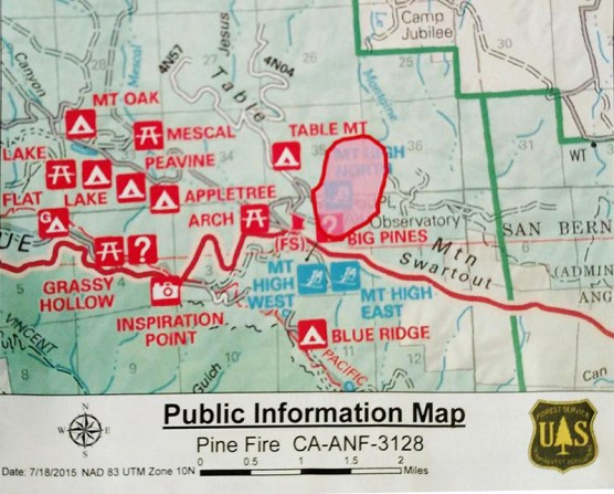 Preliminary map of Pine Fire area (the circle in the middle)