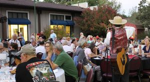 """""""Mild Bill"""" entertains guests in the backyard at Hart Hall adjacent to Hart Park in Newhall."""