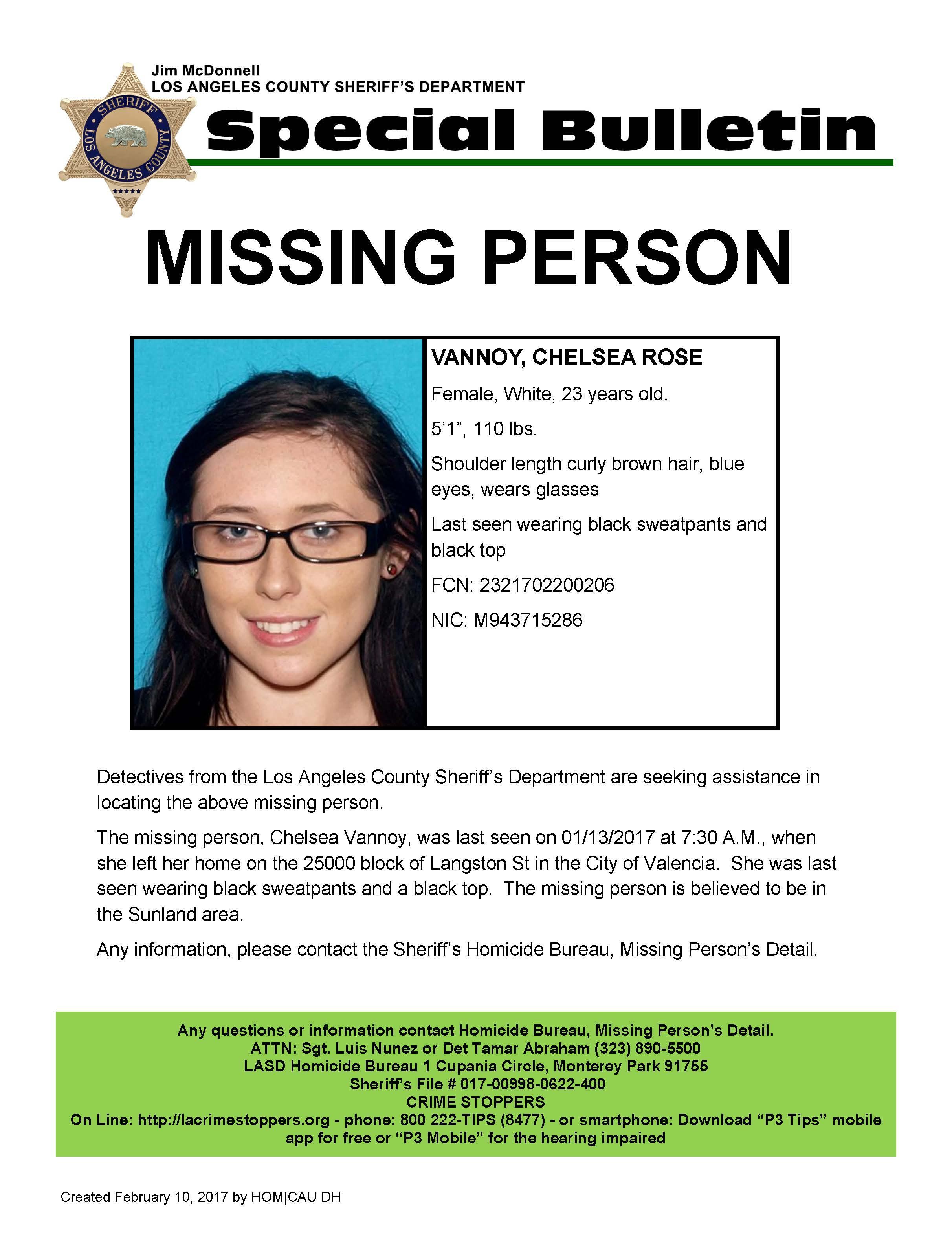 Missing Person: Chelsea Rose Vannoy, 23, Last Seen in