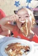 Fourth of July pancake breakfast girl