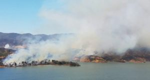 Lake Fire on the banks of Castaic Lake