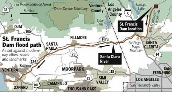 St. Francis Dam break flood path