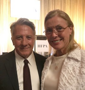 CSUN President Dianne F. Harrison with actor Dustin Hoffman at the Hollywood Foreign Press Association's annual grants banquet, where CSUN was awarded $65,000 to support the university's film students. Photo by Nate Thomas.