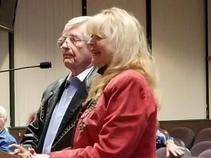 Bobbi Jean Bell and Jim Bell speak to the Santa Clarita Arts Commission on October 12, 2017. | Photo: Stephen K. Peeples