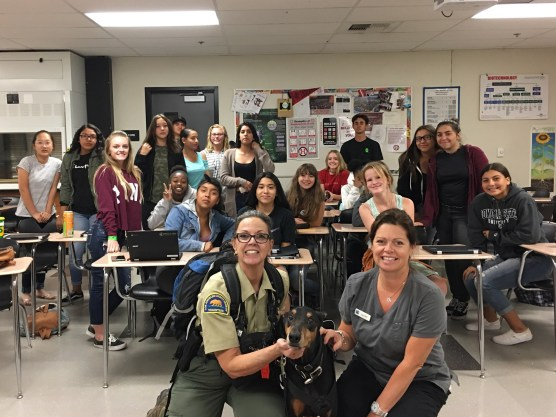 Sue Reynolds Buckley and Los Angeles Sheriff's Department Search K9 Nudel visiting Mrs. Wise's Animal Science students.