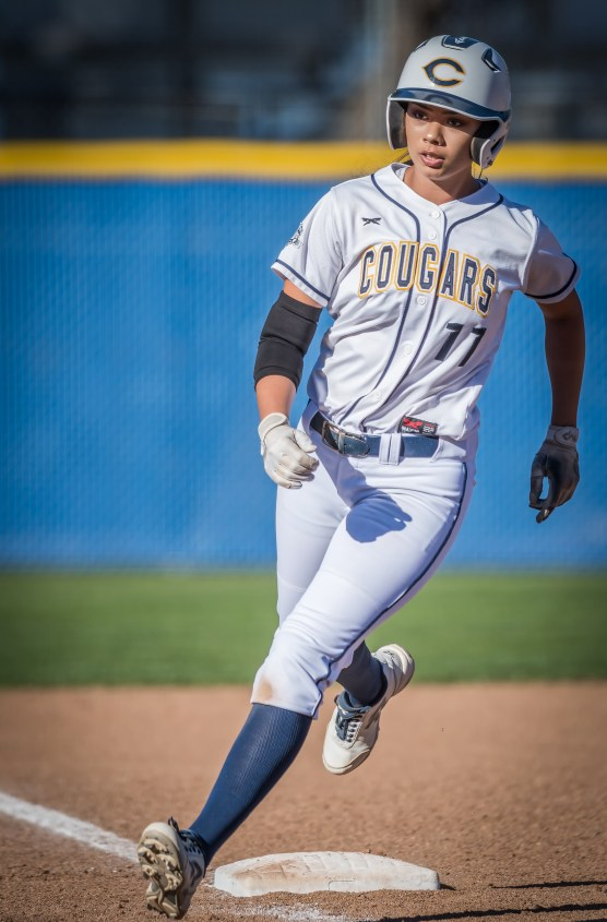 College of the Canyons shortstop Danielle Chatman rounds third after hitting a lead-off home run to start the third inning Thursday, February 8, 2018 against Ventura College. | Photo: Kevin Karzin