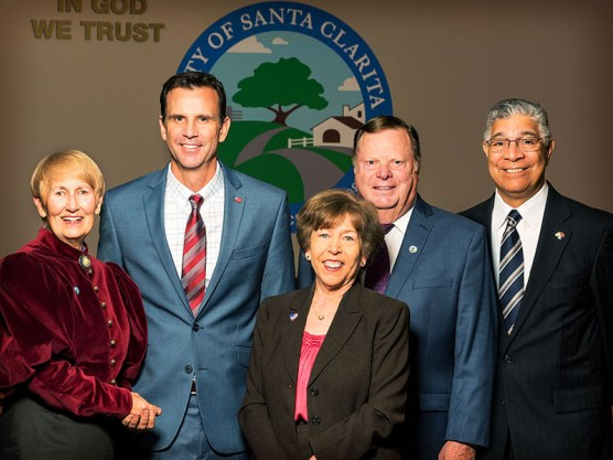 study session - Santa Clarita City Council 2018: Mayor Laurene Weste; Councilman Cameron Smyth; Mayor Pro Tem Marsha McLean; and Councilmen Bob Kellar and Bill Miranda.