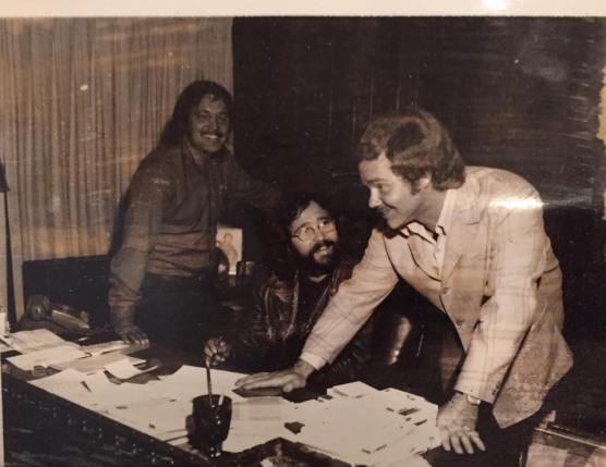 Steve Stone and friends at ATV, mid-1970s.