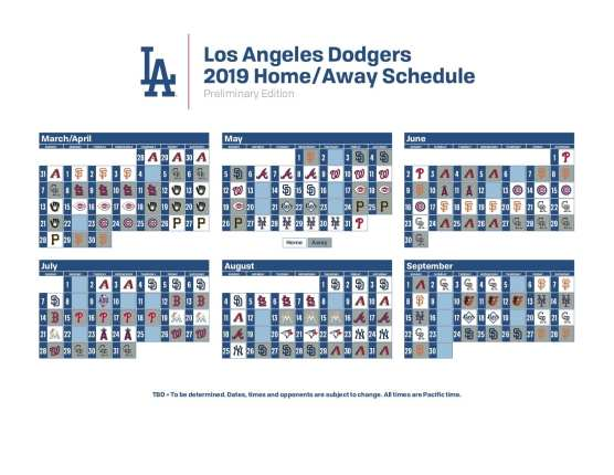 Scvnews Com Dodgers 2019 Preliminary Schedule Released Includes