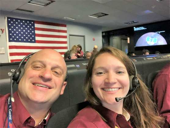 Gene Bonfiglio and Brooke Harper of NASA JPL's Entry, Descent and Lansing Team after the InSight spacecraft's successful touchdown on Mars on Nov. 26, 2018.