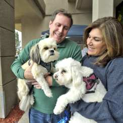 Scott and Vanessa Wilk with rescue dogs, Simi, left, and AV. | Photo: Dan Watson/The Signal.