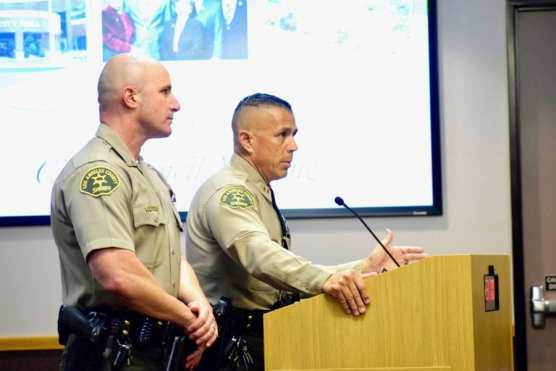 SCV Sheriff's Station Captain Robert Lewis (right) and Lt. Justin Diez explain how they monitor sex offender registrants under Megan's Law during the Santa Clarita City Council meeting on Tuesday, May 14, 2019. | Photo: Tammy Murga/The Signal.