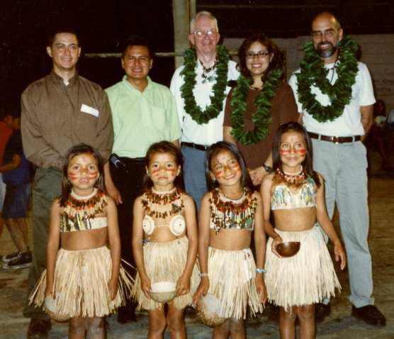 adventures-Tena, Ecuador officials and children welcome Santa Clarita Sister City visitors Carl Boyer, Elena Galvez and Ken Pulskamp in 2001.
