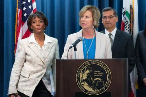 Los Angeles County District Attorney Jackie Lacey, LA County Supervisor Janice Hahn and California Attorney General Xavier Becerra announbced a joint lawsuit against Juul on Monday, Nov. 18, 2019.