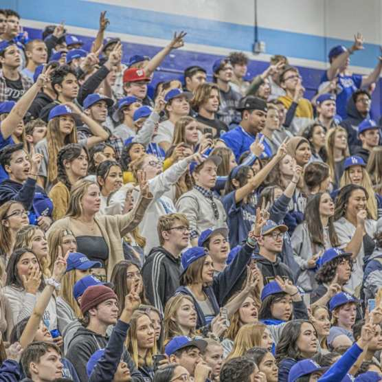 Members of the Los Angeles Dodgers participate in activities with students from Saugus High School at a rally held in the campus's gym on Friday morning, January 24, 2020. | Photo: Bobby Block / The Signal.