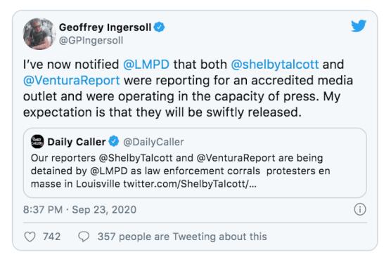 Tweet regarding Louisville Arrest