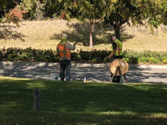 Crews Installing Dark Fiber at CalArts