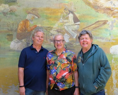 From left: Docent Herb Broutt, Artist Rudy Pavini, PCNCA President Ron Kraus.